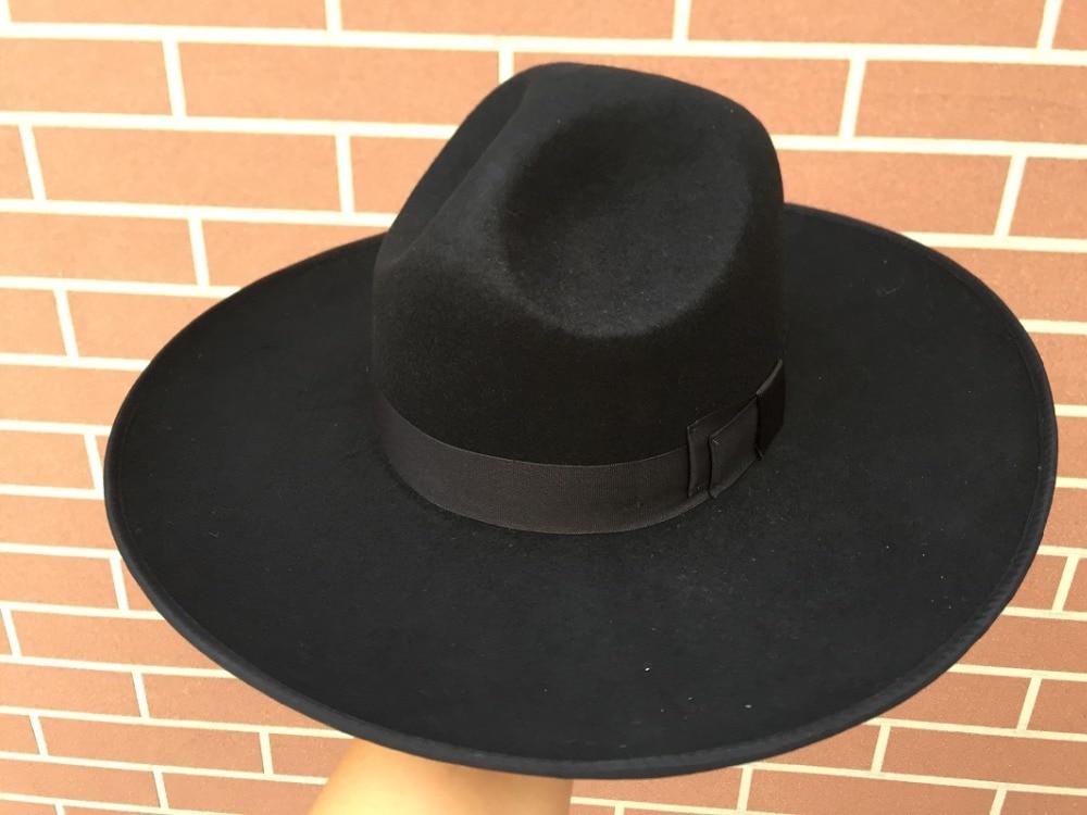 5d1f8c42564 Black Israel Jewish Hat Jews Wool Hasidic Kosher Rabbi Fedora Cap + Wide  Brim 12 cm-in Fedoras from Apparel Accessories on Aliexpress.com