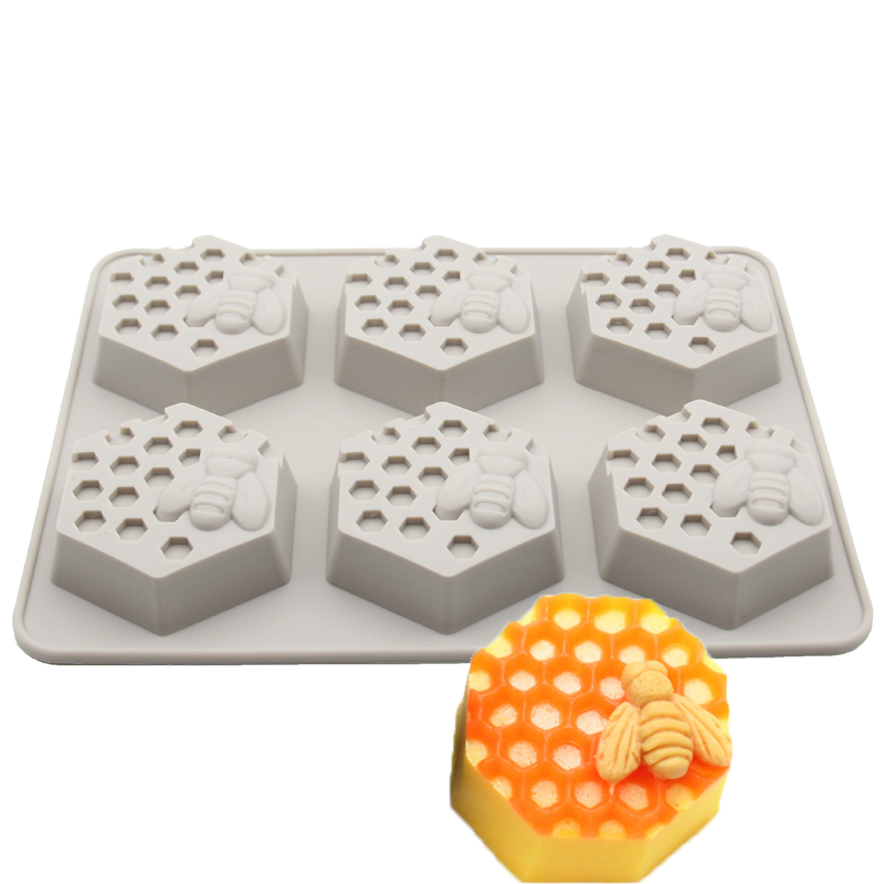 New Creative 6 Holes Honey Bee Honeycomb Silicone Soap Mold DIY Handmade 3D Cake Mould Easy To Demolding Soap Making Craft