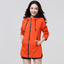 Women Fashion Zip Up sweatshirts,plus Size Thick Hoodies Coat Long Sections Warm Sweatshirts Spring Autumn Hoody Solid TT535