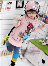 In the autumn of 2015 new children little girl bow long flannel Hooded Sweater thickened.
