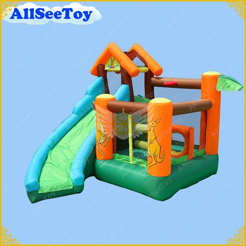 Glissière gonflable de videur pour l'usage à la maison, maison de rebond pour le bébé, château plein d'entrain avec le ventilateur