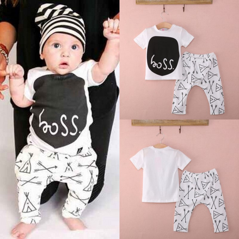82104bc417b baby 2pcs clothing set!!cute baby toddler boy girl short sleeve boss letter  printed tops arrow cartoon long pants outfit 0~24M-in Clothing Sets from  Mother ...