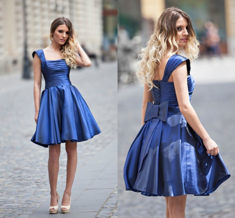 Beautiful Blue Satin   prom     Dresses   Simple Design Square Collar Lace Up Bow Handmade Lovely a-line cap sleeve 2016 party gown