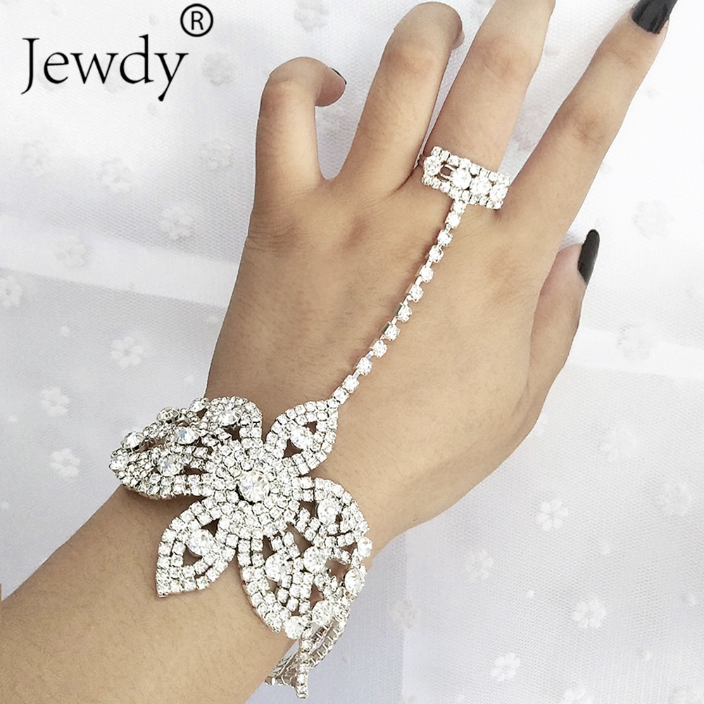 Statement Rhinestone Finger <font><b>Ring</b></font> <font><b>Bracelets</b></font> for Women Pulseras Mujer Wedding Crystal Bowknot Bangle Charm Femme Jewelry 2019 image