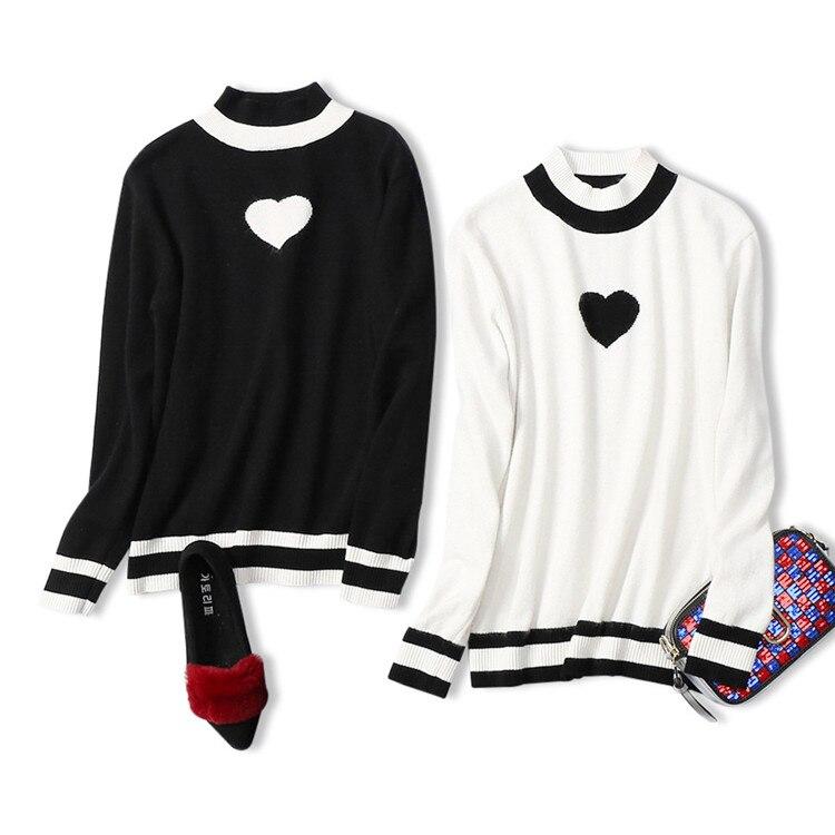 Aucune Col Coeur Et Plein Couleur Vison blanc Poncho Haut De Pull Promotion 2018 Noir Modèle Frappé Chandail Nouveau Slim Pêche Femmes Printemps T4SqO5z