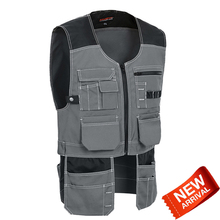 Mens Grey tool vest working utility workwear men free shipping