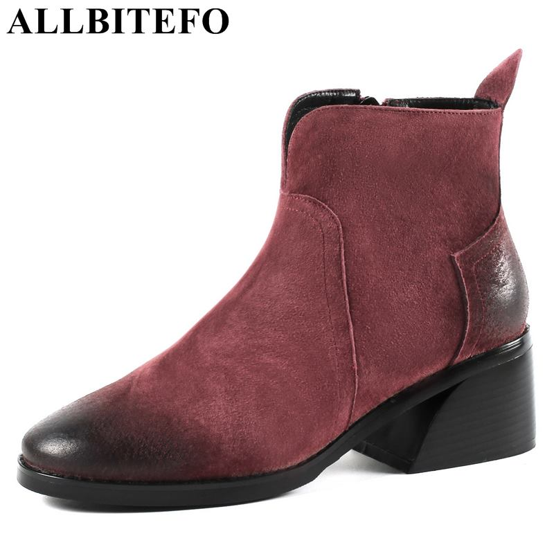 ALLBITEFO size:34-43 genuine leather thick heel women boots brand high heels ankle boots women winter boots bota de neve