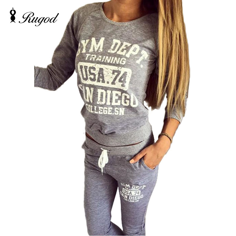 2018 Spring Autumn 2 Pieces Set Women Letter Print Suit Slim Sexy O-neck Tracksuits for Womens Sweatshirts + Pants Lady Suits