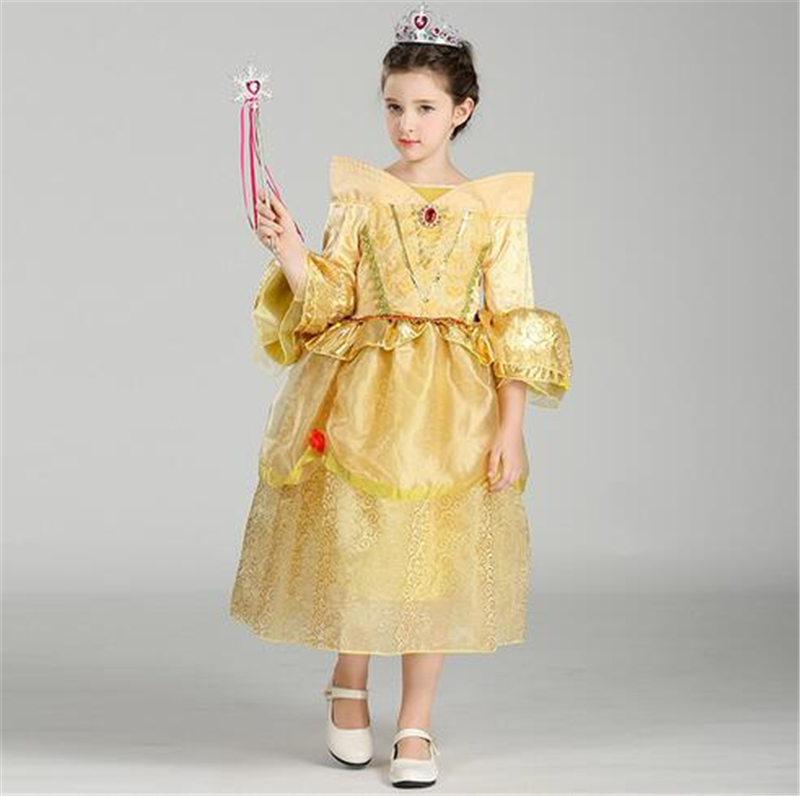 Girls Dresses Costume Belle Kids Princess Party Fancy Dress Birthday Gift Belle Dress from Beauty and the Beast