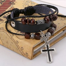 2015 Fashion Handmade Wooden beads Adjustable With the Cross Leather Bracelet For Women Men Unisex Jewelry Star Bracelet Bangle