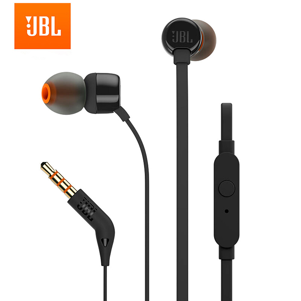 Jbl t110 3.5mm com fio fone de ouvido fone de ouvido em linha controle mãos livres com microfone jbl audifono para fone de ouvido celular