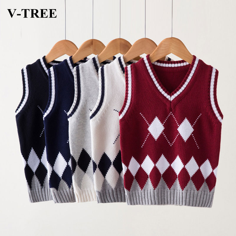 V-TREE Child Vest College Winds Knit Vest Girls Sweater Vest Boy Polo Vest Kids Waistcoats For Boys