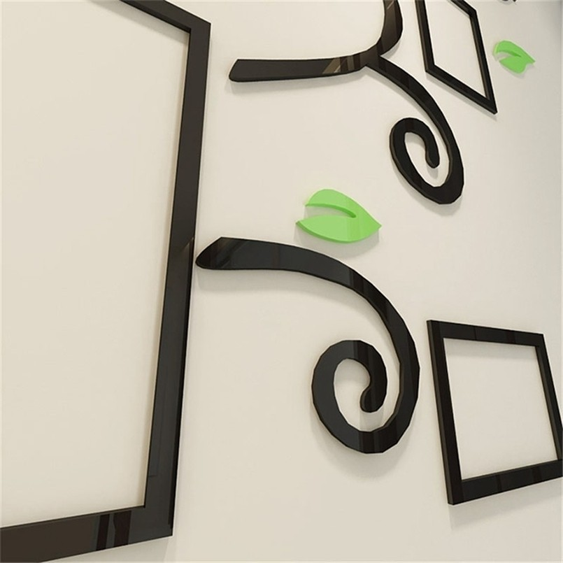 New Wall Stickers 3D Acrylic Plant Photo Wall Stickers Frame For Home Decoration Decorative Mural Wall Stickers For Kids Rooms in Wall Stickers from Home Garden