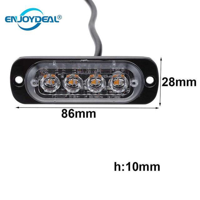 12V/24V 4 LED 12W Car Truck Strobe Flash Emergency Warning Bar Light tail Flashing Light Bulb Amber