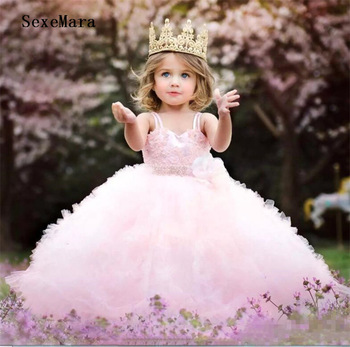 Cute Pink Ball Gown Baby Girls Birthday Party Dress with Beaded Sash Puffy Gown Flower Girl Dress Kids Pageant Gown Custom Made lovely princess flower girls dresses with bow long pageant dress kids party dress ball gowns pink custom made