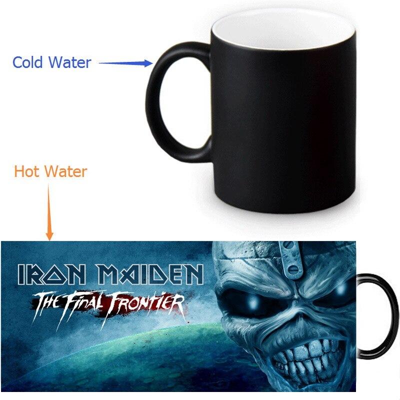 Iron Maiden mugs Heat Changing Color Tea Cup Heat Sensitive Coffee Mug Transforming disappearing cups Magic