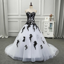 White and Black Ball Gown Gothic Wedding Dress 2018 Sweethea