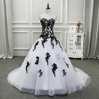 White and Black Ball Gown Gothic Wedding Dress 2018 Sweetheart Dropped Waist Women Vintage Non White Bridal Gown