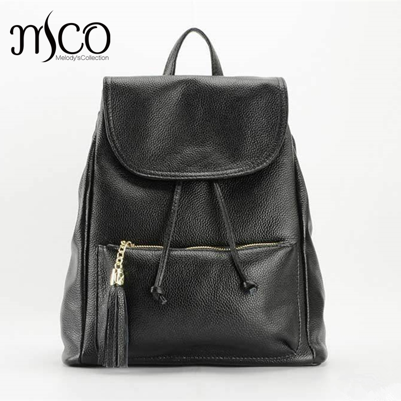 Mochila Feminine Backpack women Bag Fashion Design Black Genuine Leather backpack for teenagers school bags for girls Backpacks