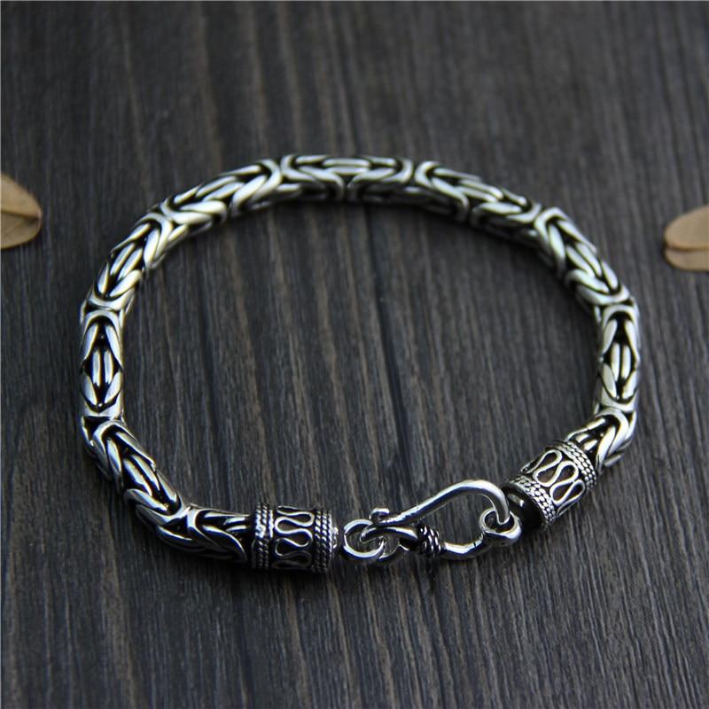 цена на Silver Wholesale S925 Sterling Silver Bracelet men's Style Retro Thai Silver Fashion Domineering Old Jewelry