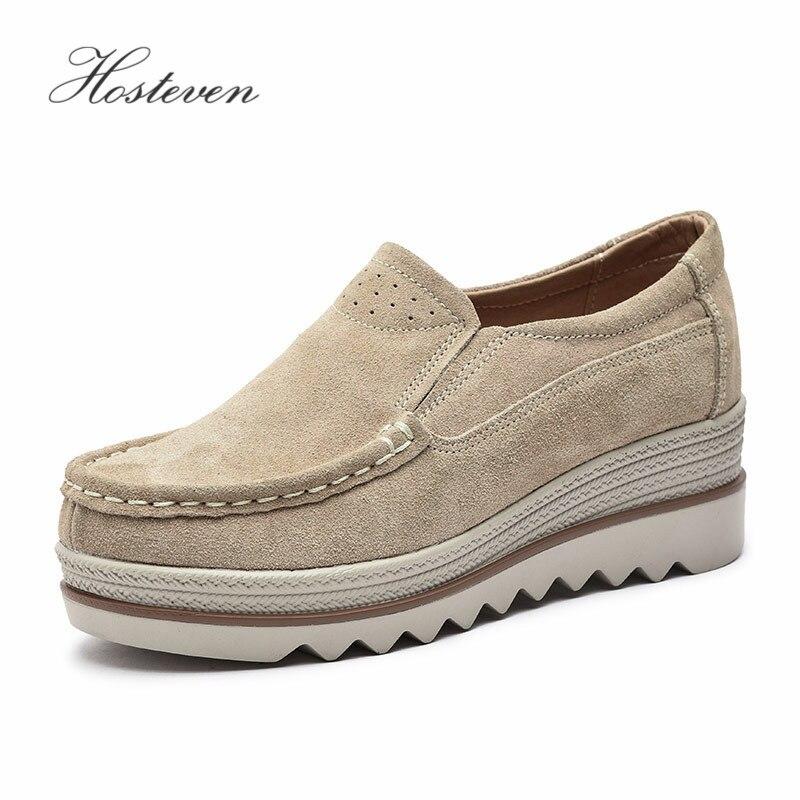 Hosteven Women's Shoes Flat Platform Female Shoe Woman Ladies Shoes Cow   Suede     Leather   Spring Autumn Women's Loafers Moccasins