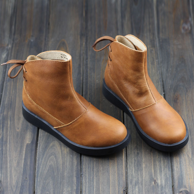 Shoes Woman Boots Brown Black Genuine Leather Martin Boots Round Toe Thick Platform Rubber Sole 2015