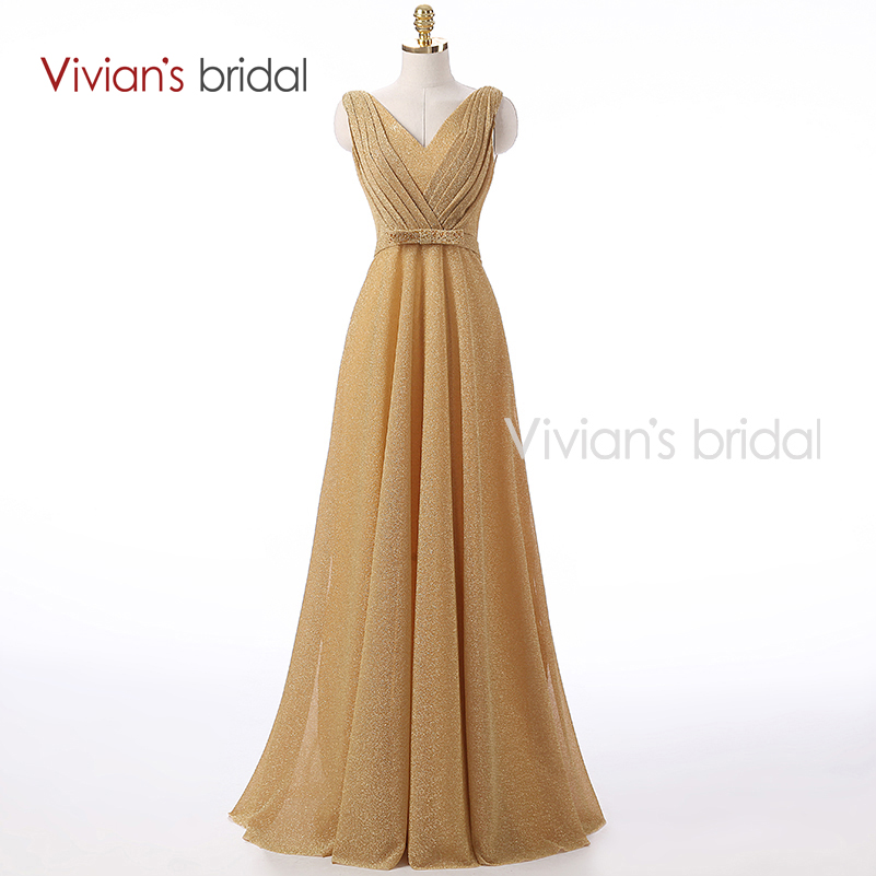 Vivian's Bridal New Arrival A Line Evening Dress Champagne V Neck Long Formal Evening Gown EV401