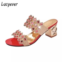 Lucyever PU Leather Filp Flops Women Fashion Crystal Sandals Sexy Rhinestone High Heels Open Toe Sandals