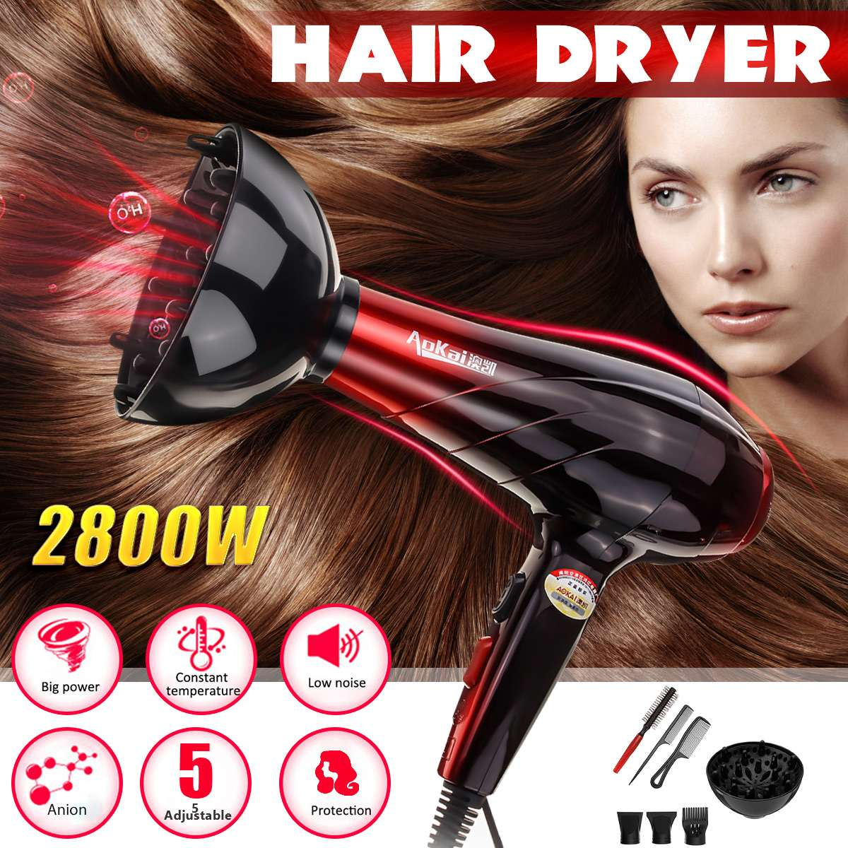 2800W 220V Professional Electric Hair Dryer Salon Hairdressing Blow Diffuser Tool Kit 2 Heat Speed 3 Tempreture Setting 24x28cm2800W 220V Professional Electric Hair Dryer Salon Hairdressing Blow Diffuser Tool Kit 2 Heat Speed 3 Tempreture Setting 24x28cm
