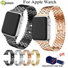 купить Luxury Steel link bracelet strap for apple watch band 42mm/38mm/44mm/40mm iwatch series 4/3/2/1 metal wrist belt clock watchband дешево