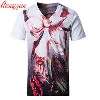 Men Mercerized Cotton Printed T shirts Brand 5XL Plus Size Summer Short Sleeve Casual Tees Slim Fit Cotton Fashion TShirt F2151
