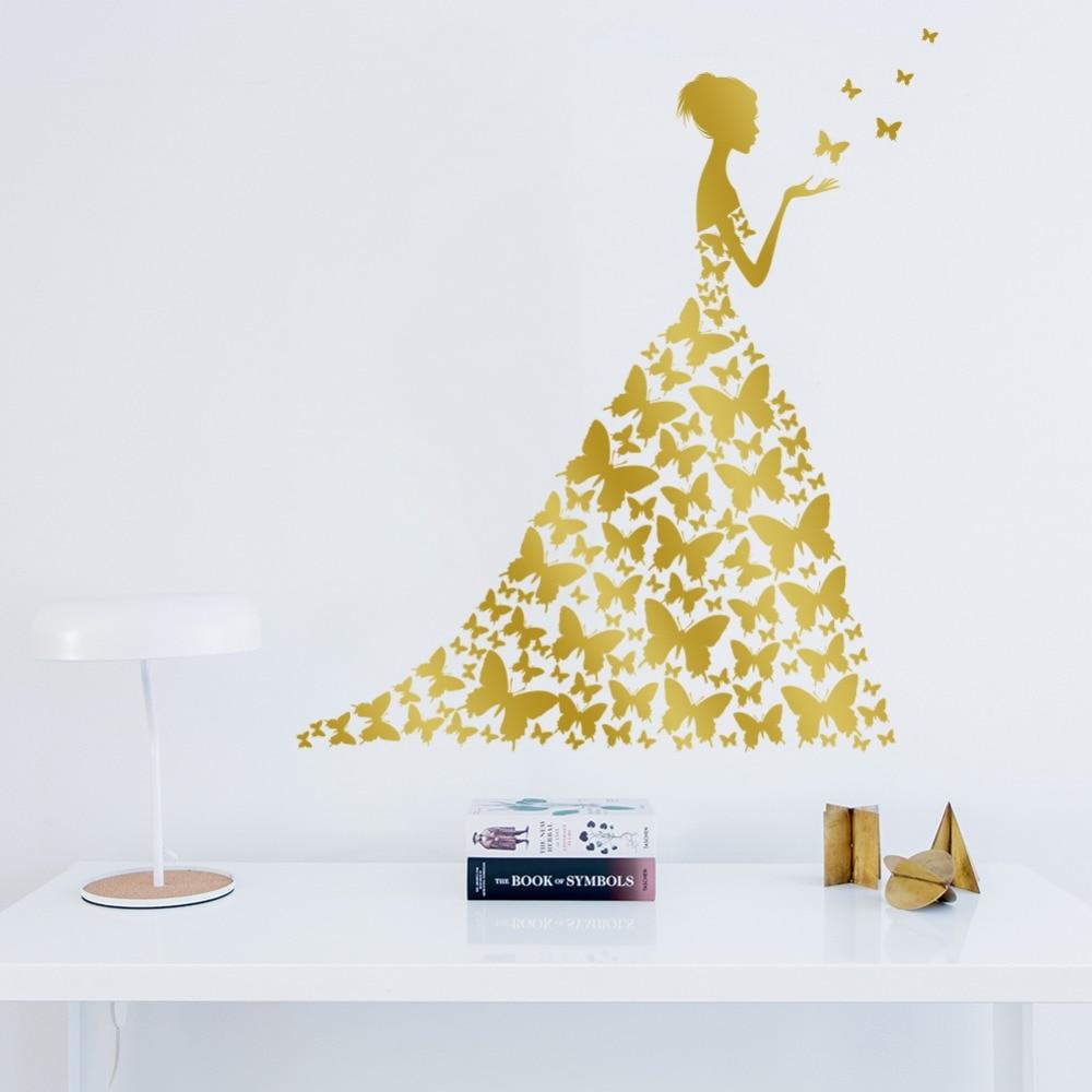 Vinyl Butterfly Girl Wall Stickers Kids Room Decoration Bedroom Art ...