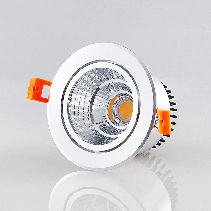 Dimmable LED COB Spotlight Ceiling Lamp AC85-265V  5W 7W  12W Aluminum Recessed Downlights Round Led Panel Light
