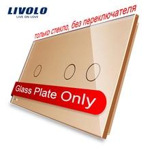 Livolo Lujo Oro de La Perla de Cristal, 151mm * 80mm, vidrio Sólo estándar de LA UE, doble Panel de Vidrio, VL-C7-C1/C2-13