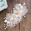 Beaded Fabric Flower Headband Pearl Tiara Hair Jewelry Pearl Hairband Bridal Headpiece Bride Wedding Hair Accessories WIGO0989