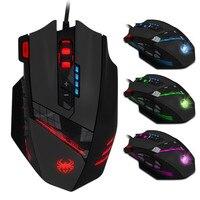 ZELOTES C-12 프로그램 버튼 LED 광학 USB 유선 게임 마우스 마우스 4000 인치 당 점 12 버튼 게임 프로 게이머 마우스 PC 노트