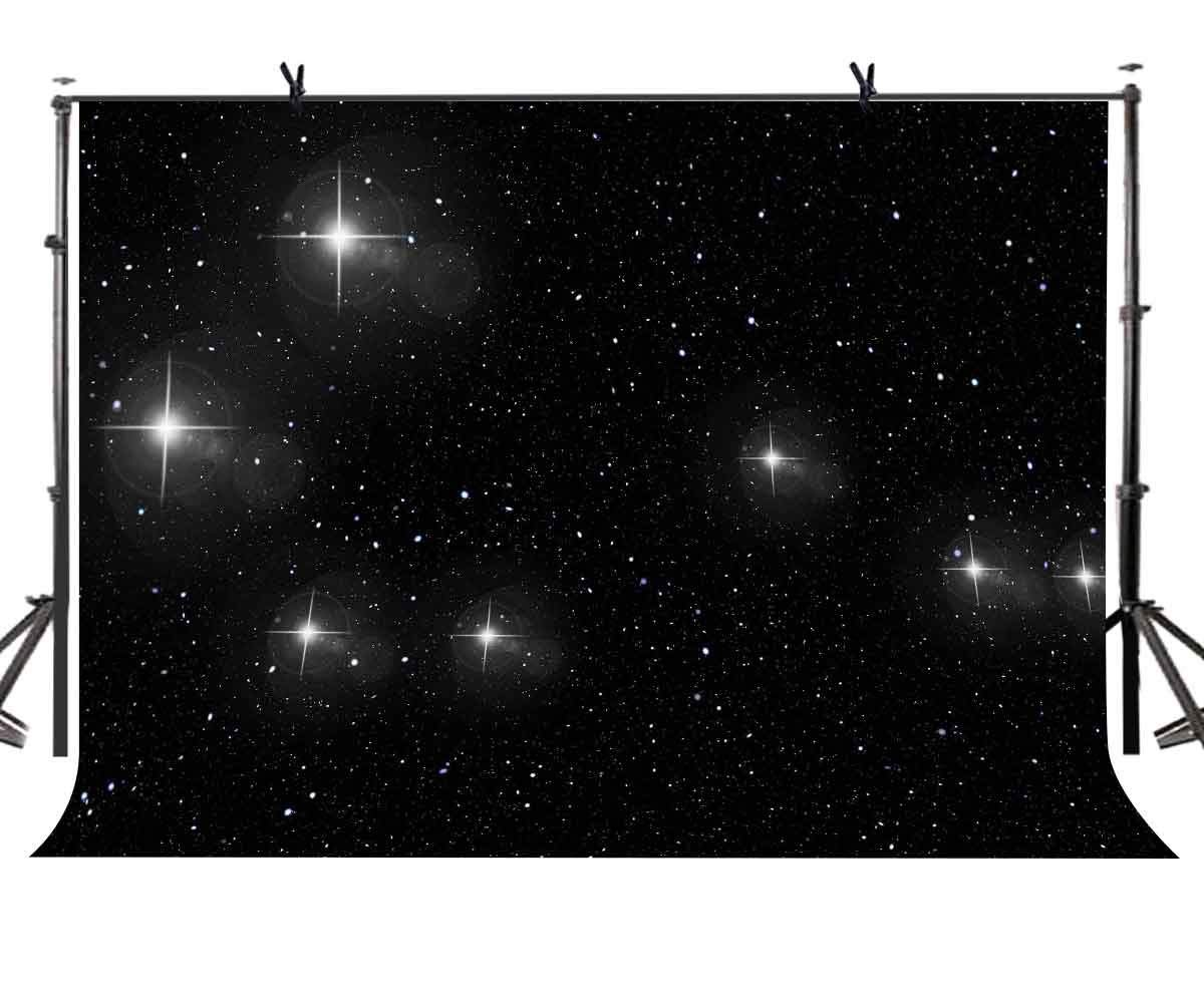 7x5ft Starry Sky Backdrop Black Shining Photography Background and Studio Props