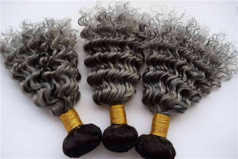 3pcslot Two Tone Ombre Human Hair Extensions Deep Wave