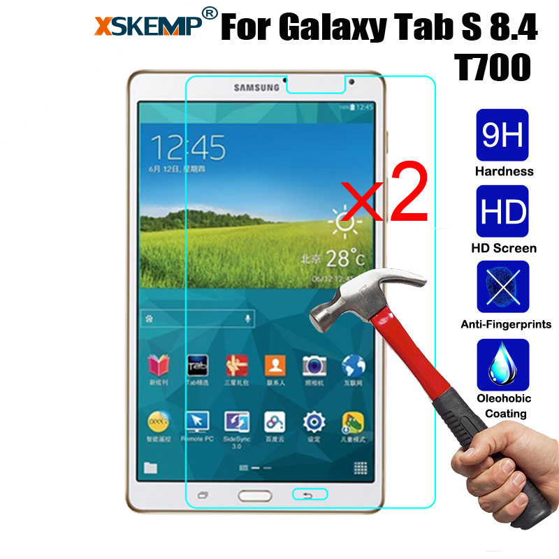 XSKEMP 2Pcs/Lot 9H Tempered Glass For Samsung Galaxy Tab S 8.4 T700 T705 HD Anti-Shatter Screen Protector Tablet Protective Film