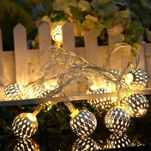 Iron Ball 3M 20leds Fairy Battery String Lights Home Outdoor Decoration Christmas Holiday Party guirlande luminous Lighting