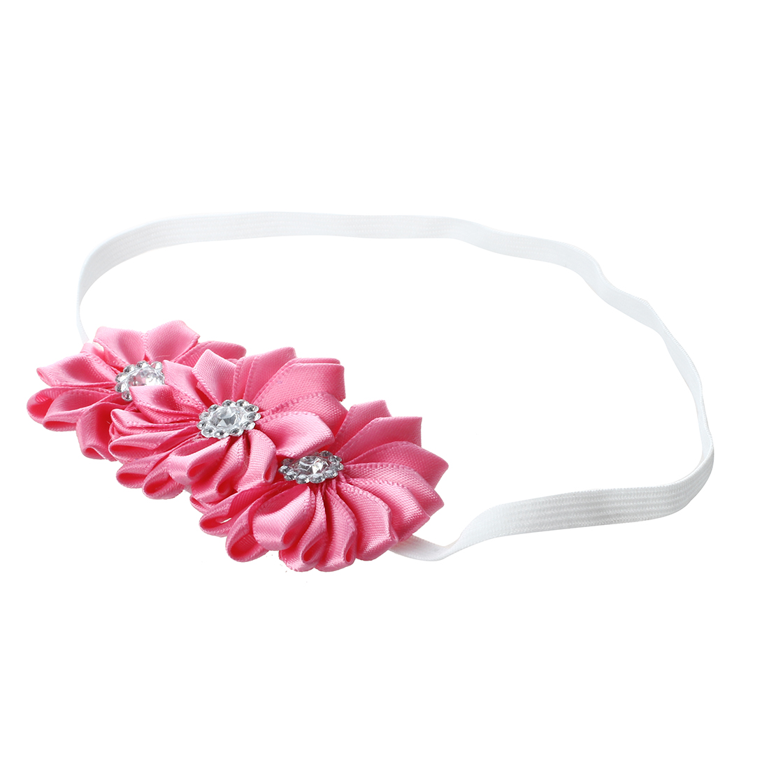 Baby Girl Soft Ribbon Flower Hair Band watermelon red