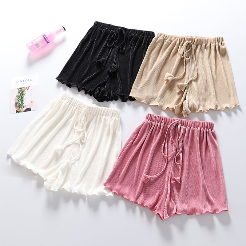 Lace Up Striped Pleated Shorts Women White Black High Waist Wide Leg Shorts Hotpants Loose Short Femme Women Summer Shorts C5478