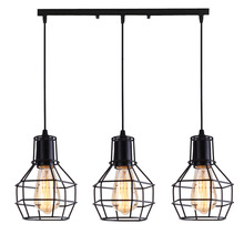 Nordic loft retro Iron cage pendant light modern light fixture American Industrial vintage Lamp kitchen hanging lamps vintage wicker pendant lamp hand made knitted hemp rope iron coffee shop pendant lamps loft lamp american lamp free shipping