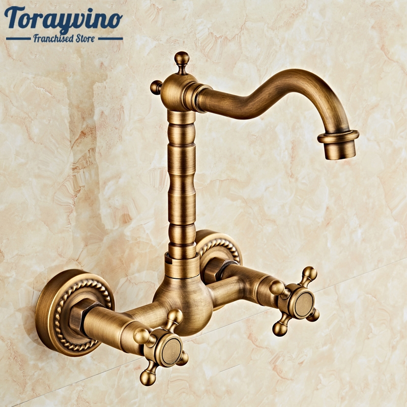 360 Swivel Antique Brass Bathroom Basin Sink Mix Tap Dual Handles Wall Mounted Kitchen Basin Sink Mixer Faucet antique brass dual cross handles swivel kitchen bathroom sink basin faucet mixer taps anf003