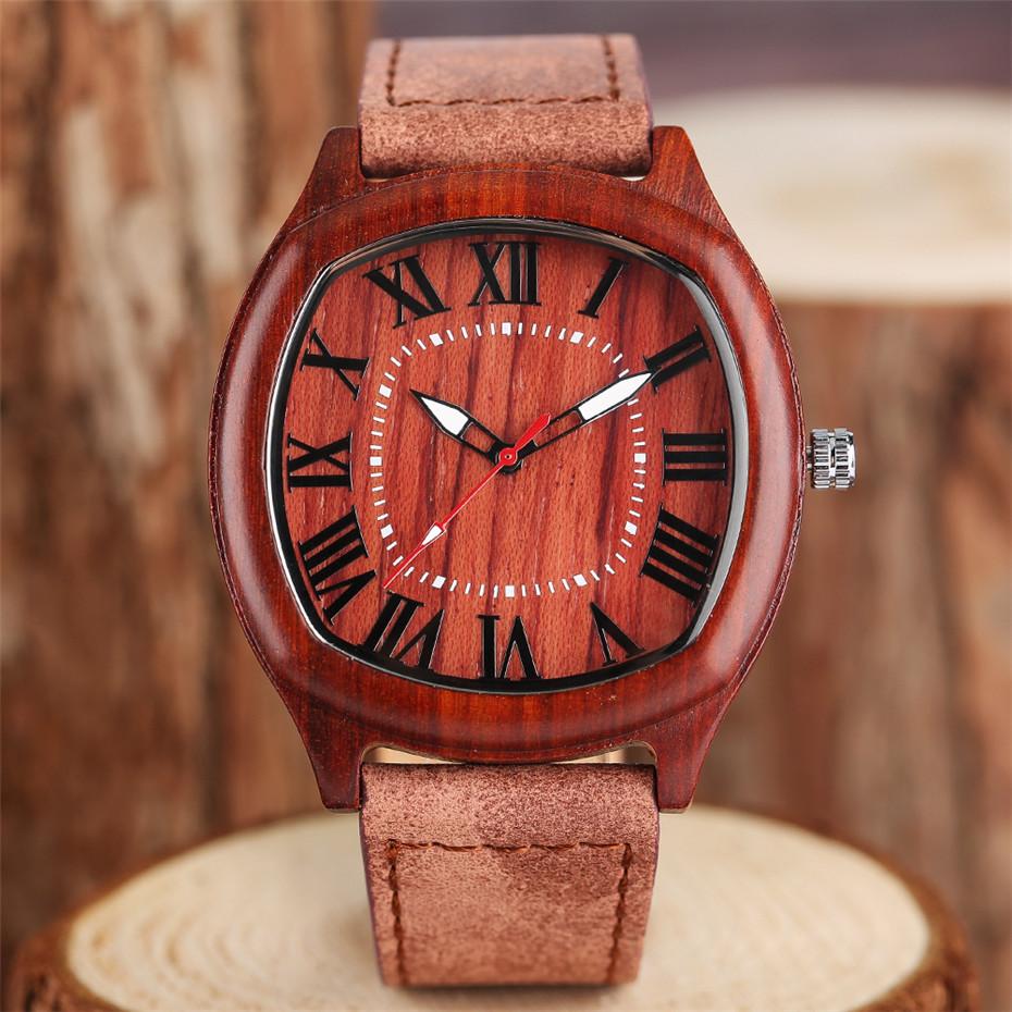 YISUYA Bamboo Wooden Watch Men Quartz Leather Band Analog Creative Watches Roman Numerals Dial Unqiue Shape Fashion Clock Gift (7)
