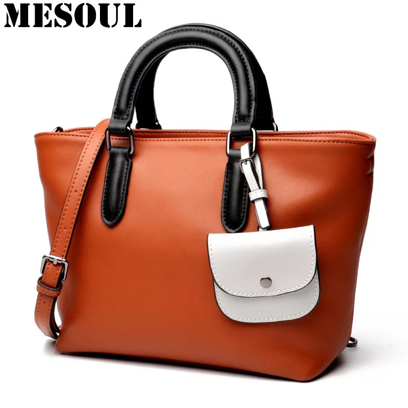 Фото Women Messenger Bags Casual Tote Femme Fashion Luxury Handbags Women Bags Designer Stitching Color Pocket Shoulder & Crossbody