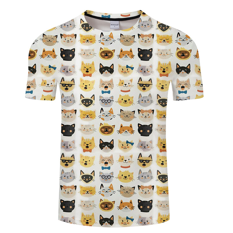 New summer men's T-shirt 3D cat printed Tshirt 6XL.