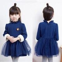 Çocuk Elbise Kız Tığ Kış için Kazak Uzun Kollu Sıcak Rahat Elbise Bebek Örme Tutu Parti Kıyafeti Çocuk Giyim için