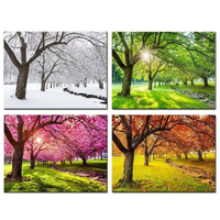 Diamond Painting Kits Full Square/round 4 Piece Spring Summer Autumn Winter Four Seasons Landscape Colorful Tree Mosaic Painting