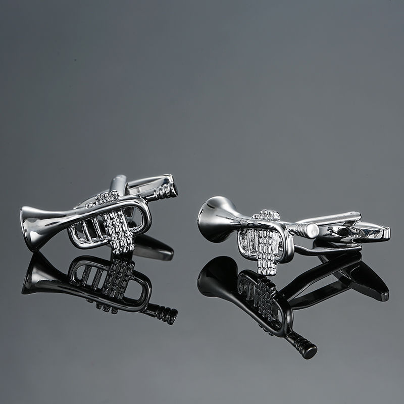 DY new high quality brass musical instruments Sax trumpet drum piano violin music symbol French shirt Cufflinks free shipping 5